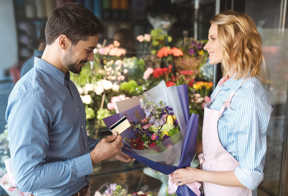 In flower-shop, you can order and pay online